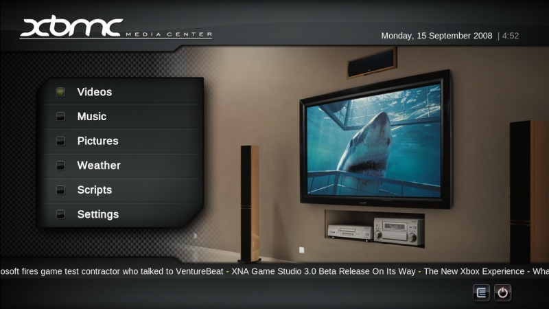 XBMC Main Screen